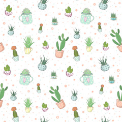 Cute vector seamless pattern with small succulents in different teacups. A small haworthia, aloe vera, echeveria and others. Design for greeting cards, wrapper, fabric and other objects