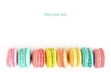 French macaron cookies on white background.Sweet dessert.
