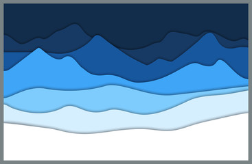Blue mountains in paper cut style. Outdoor background. Vector illustration.