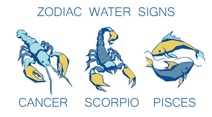 Collection of Zodiac Signs. Vector Illustration of Water Zodiacal Simbols in Faseted Grunge Style on White Background. Cancer, Scorpio, Pisces. Future Telling, Horoscope, Mystery, Constellations