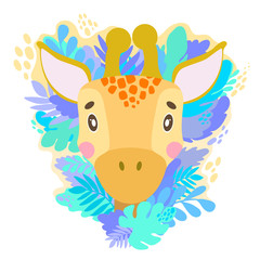 Vector cute giraffe face in the jungle. For print on a T-shirt, a picture in the nursery.
