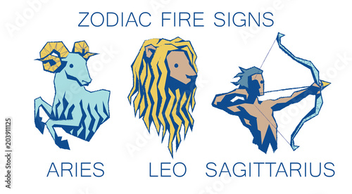 Collection of Zodiac Signs  Vector Illustration of Fire Zodiacal