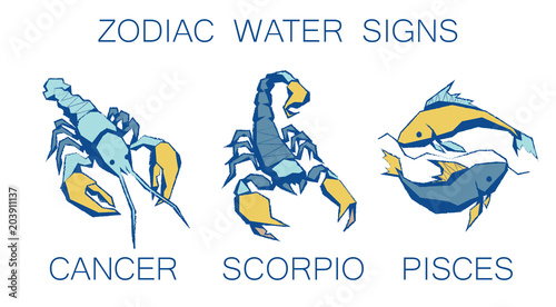 Collection of Zodiac Signs  Vector Illustration of Water Zodiacal