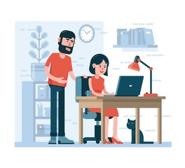 Man and woman work together on laptop in home environment. Cartoon flat style.
