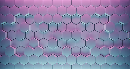 Abstract Hexagon Background With Color Lights And Reflection. 3D Rendering