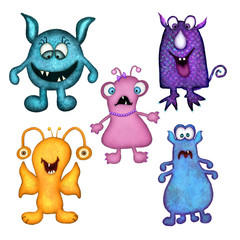 Fun Colorful Monsters Set of Five