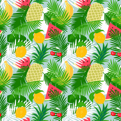 Tropical fruit seamless pattern with jungle leaves floral background.  Watermelon slice, pineapple, lemon, banana and cherry pattern with palm leaf..
