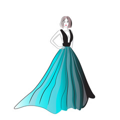 Vector image of a girl in an evening dress