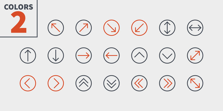 Arrows UI Pixel Perfect Well-crafted Vector Thin Line Icons 48x48 Ready for 24x24 Grid for Web Graphics and Apps with Editable Stroke. Simple Minimal Pictogram Part 2-5