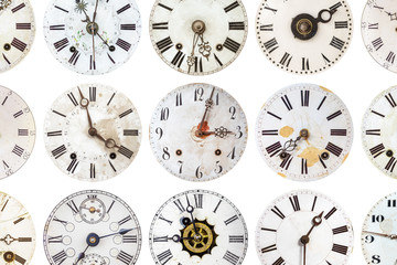 Pattern of antique weathered clocks
