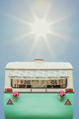 Vintage caravan in two tone green and white