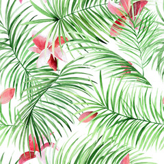 Watercolor seamless pattern with palm leaves and tropical flowers.