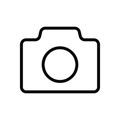 Photo camera, linear symbol with thin outline, simple icon