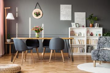 Tulips in grey dining room