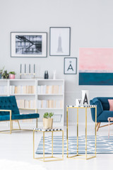Gold bright living room interior