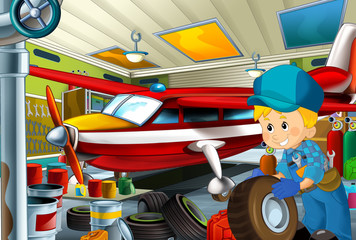 cartoon scene with mechanic and plane in the repair garage - illustration for children
