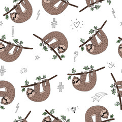seamless pattern with cute doodle sloth print