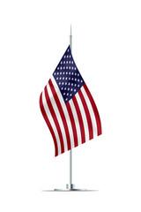 Small Flag of USA on a Metal Pole