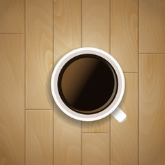 Coffee cup wood background. Vector illustration
