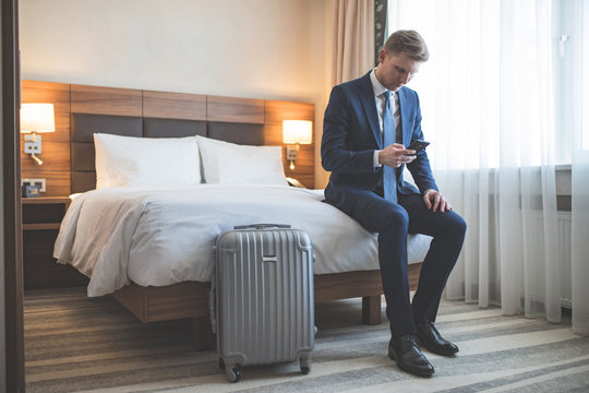 Young businessman in the hotel