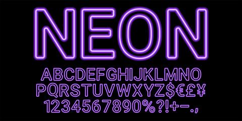 Neon font in violet color