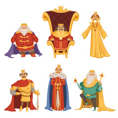 Set illustrations of king in cartoon style