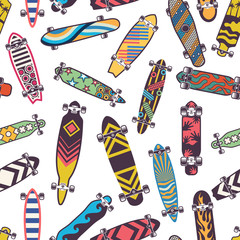 Colored seamless pattern with various skateboards