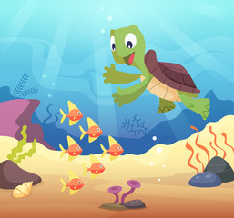 Sea underwater background with cartoon turtle