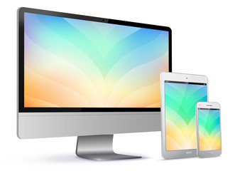 Computer Screen, Tablet PC and Mobile Phone With Colorful Abstract Screen Vector Illustration