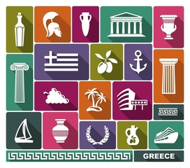 Greece icons. Vector illustration