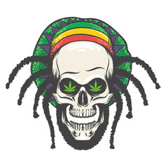 Rastaman Skull Illustration