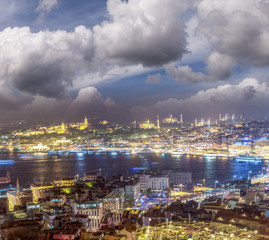 Istanbul aerial view at sunset from Beyoglu