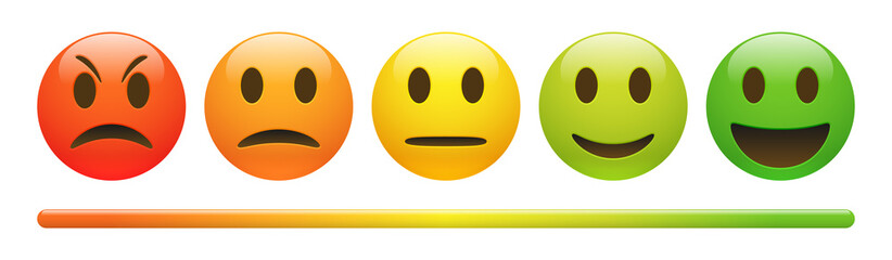 Vector emotion feedback scale on white background