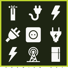 Set of 9 electrical filled icons