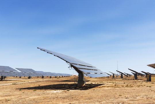 solar panels in a solar power plant