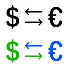 Conversion of dollar and euro icon
