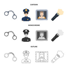 Handcuffs, policeman, prisoner, flashlight.Police set collection icons in cartoon,outline,monochrome style vector symbol stock illustration web.