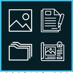 Set of 4 paper outline icons