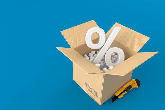 Open box with percent symbol
