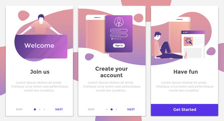 Flat Design Oneboarding Concepts