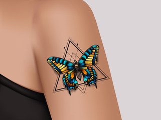 Decorative tattoo on female arm. Mystic butterfly tattoo. Realistic illustration