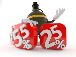 Hand grenade character behind percentage signs