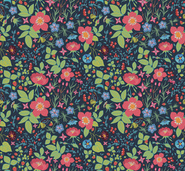 seamless floral background.strawberry, rose,petunia,bluebell.