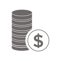 Money coins vector icon gray