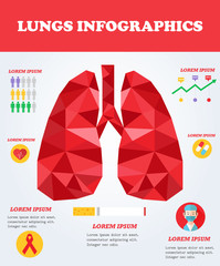 Lungs infographics and Medical concept. Health poster.