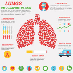 Lungs Infographic design with set of flat icons and text