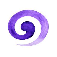 violet color of crown chakra symbol spiral concept, watercolor painting hand drawn icon logo, illustration design sign