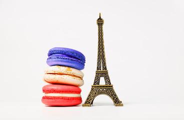 French theme. Bastille Day Concept. Croissant, macaron, Eiffel Tower.