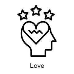 Love icon isolated on white background