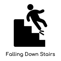 Falling Down Stairs icon isolated on white background